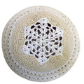 White LAce look on Ivory background Knitted Kippah Yarmulke Ten Great Ideas for Tu BAv Gifts