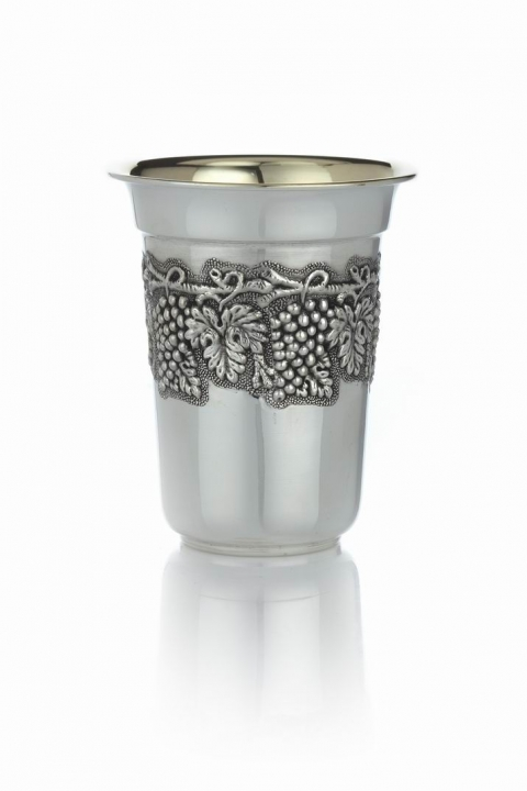 Sterling Silver Kiddush Cup with Grapes