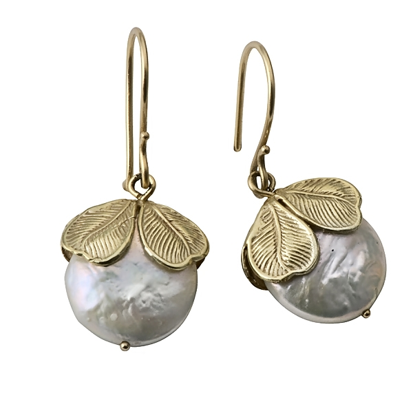 14k Gold Leaf Earrings with Pearls