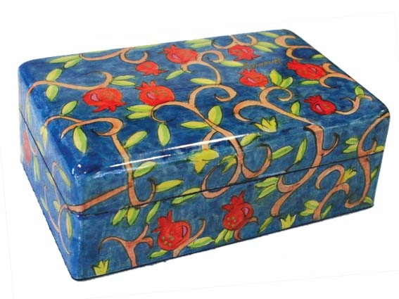 Hand Painted Jewelry Box - Pomegranates