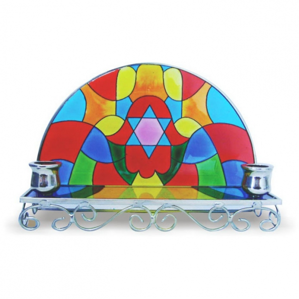 Stained Glass Candlesticks -  Hamsa Hand