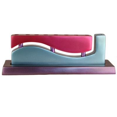 "Hanukkah Menorah ""Wave"" - Magenta and Blue"