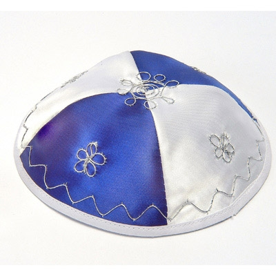 Satin Kippah (Yarmulke) - Israel Blue and White flag