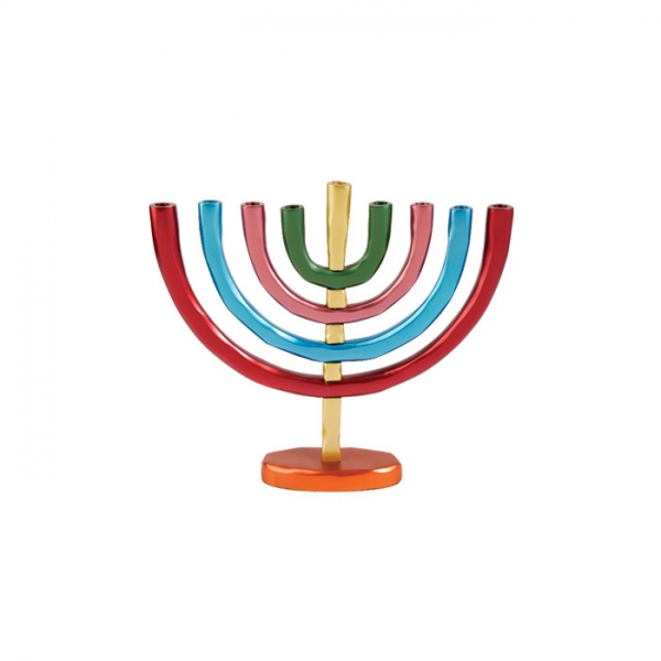 Modern Anodize Hanukkah Menorah Colorful