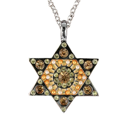 Jewish Star of David Crystal Pendant-Yellow
