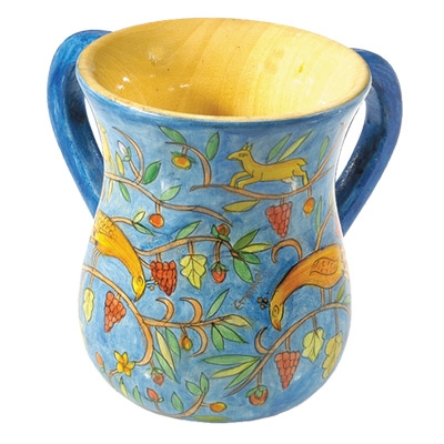 Hand Painted Wooden Washing Cup - Peacocks