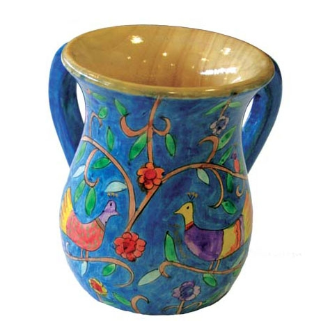 Hand Painted Wooden Washing Cup - Birds