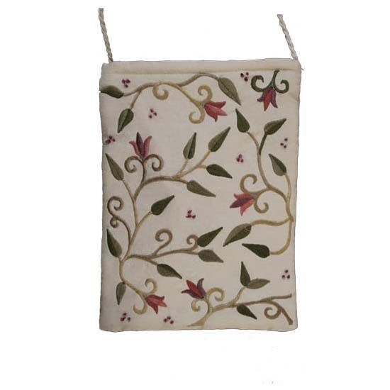 Embroidered Bag with Flowers - White