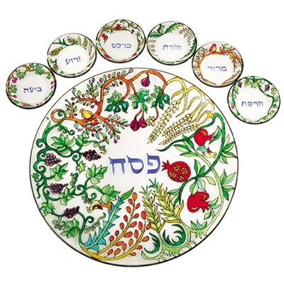 Passover Seder Plate - Glass - Seven Species