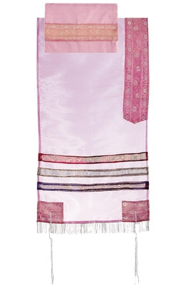 Organza Tallit with Stripes-Pink