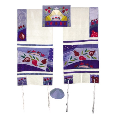 Silk Appliqued Tallit - with Pomegranate Design-Blue