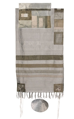 Silk Tallit with Modern Stripes-Gray