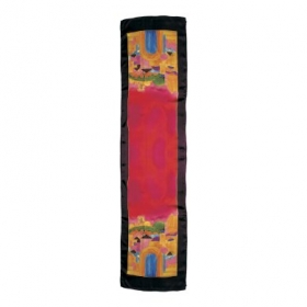 Hand Painted Silk Scarf - Jerusalem Design - Pink