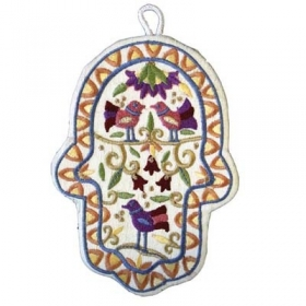 Embroidered Hamsa - Birds