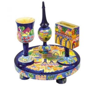 Havdalah Set - Wooden Hand Painted - Oriental Jerusalem