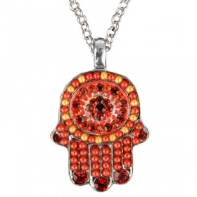 Hamsa Pendant with Beads-Red