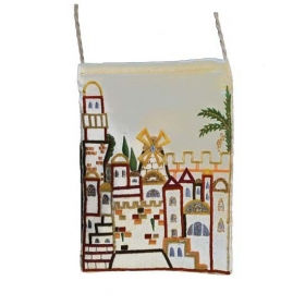 Embroidered Bag with Jerusalem Design - White