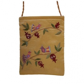 Embroidered Bag with Birds - Gold