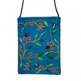 Embroidered Bag with Flowers - Blue