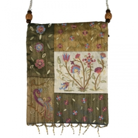 Raw Silk Bag - Flowers - Gold