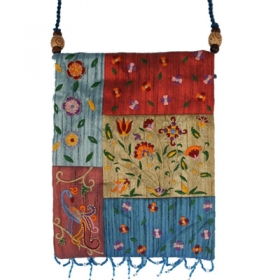Raw Silk Bag - Flowers - Multicolor