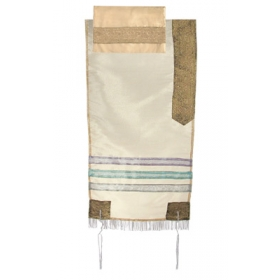 Organza Tallit with Stripes-Gold