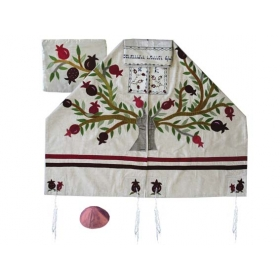 Silk Appliqued Tallit - Tree of Life Pomegranates - White
