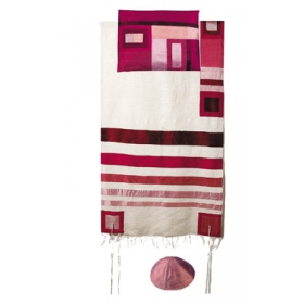 Silk Tallit with Modern Stripes-Maroon on White