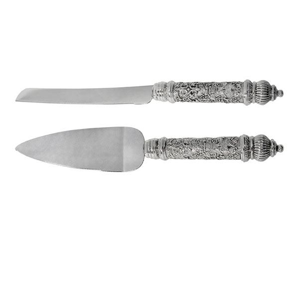 Challah and Cake Knife Set - Silver Plated