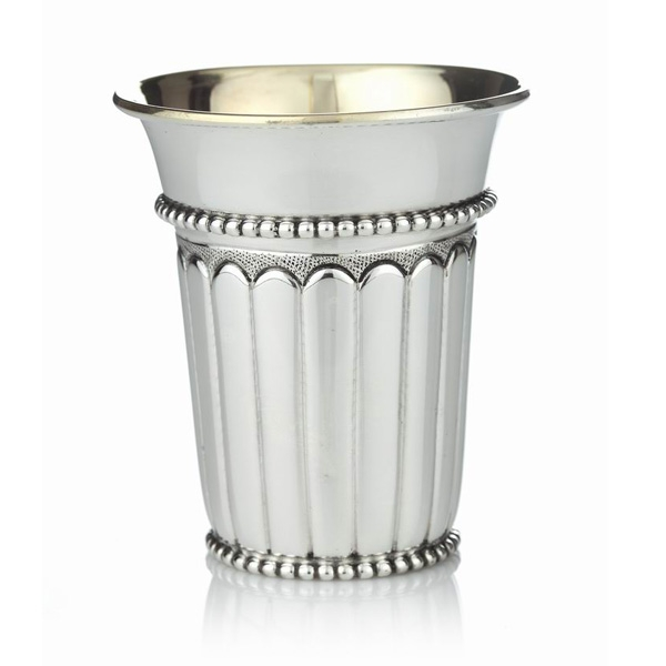 Vertical Lines Sterling Silver Kiddush Cup