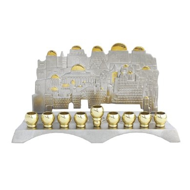 Hanukkah Menorah - Jerusalem View-Nickel