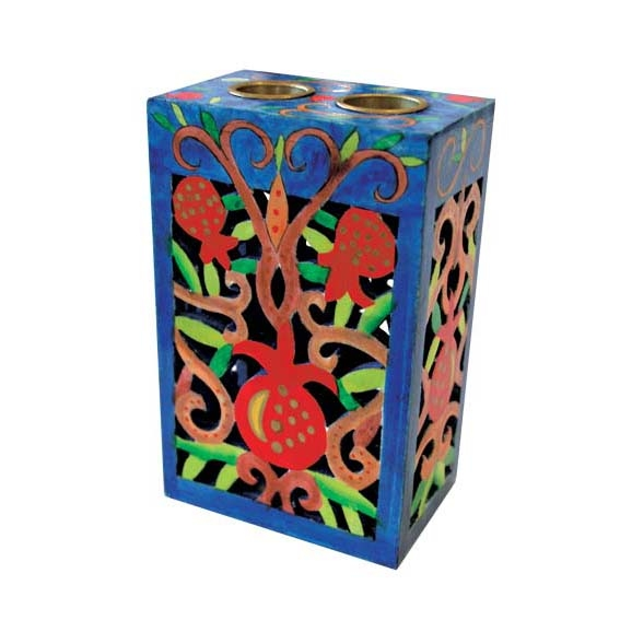 Wooden Cutout Candle holder - Pomegranate Design