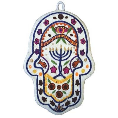 Embroidered Hamsa - Menorah