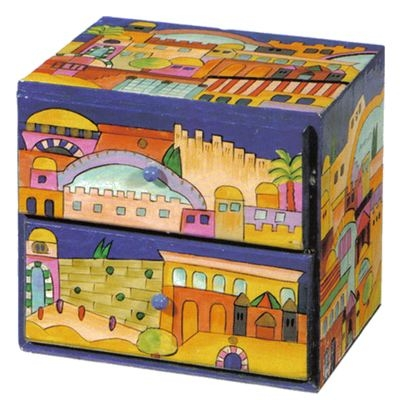 Large Wooden Jewelry Box - Jerusalem