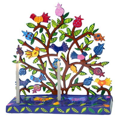 Laser Cut Hanukkah Menorah - Birds in Pomegranate Tree