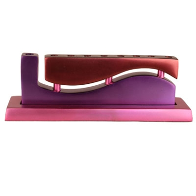 "Hanukkah Menorah ""Wave"" - Magenta and Red"