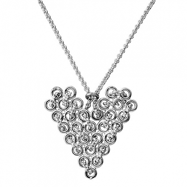 Sterling Silver Knitted Heart Chain