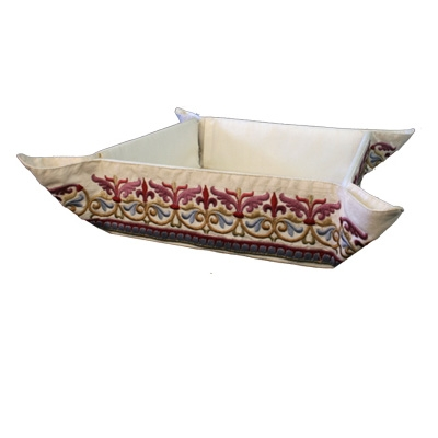 Folding Embroidered Basket - Oriental Red