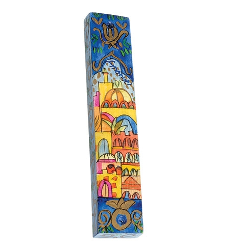 Wooden Mezuzah - Jerusalem Panorama Blue