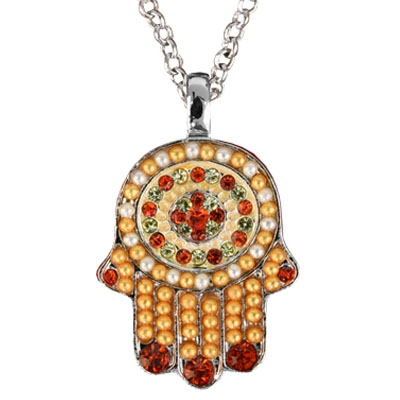 Hamsa Pendant with Beads-Orange