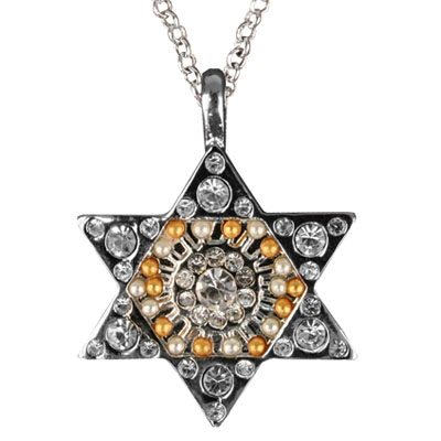 Jewish Star of David Crystal Pendant-White