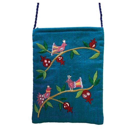 Embroidered Bag with Birds - Teal
