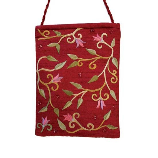 Embroidered Bag with Flowers - Maroon