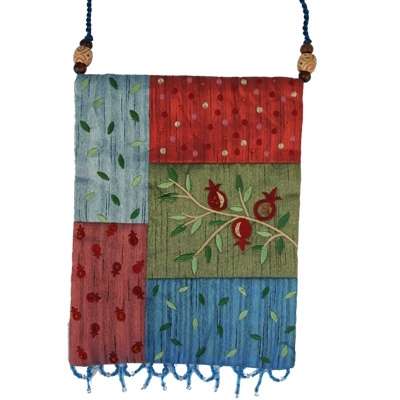 Raw Silk Bag - Pomegranates - Multicolor