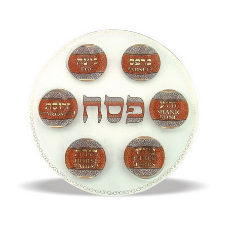 Glass Passover Seder Plate - Gold