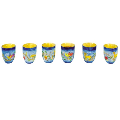 6 Small Kiddush Cups - Oriental