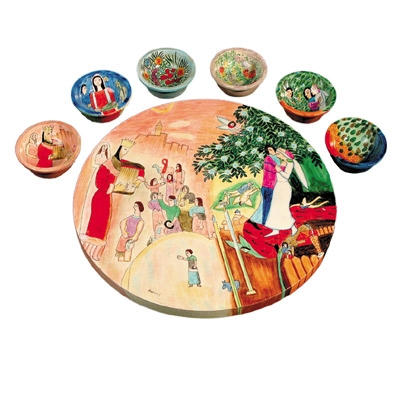 Wooden Passover Seder Plate - Figures