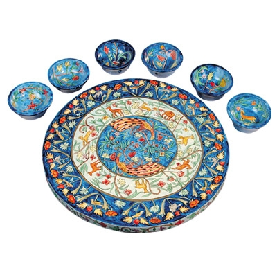 Wooden Passover Seder Plate - Peacocks