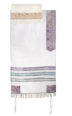 Organza Tallit with Stripes-Purple on White