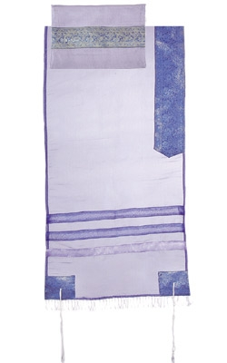 Organza Tallit with Stripes-Blue